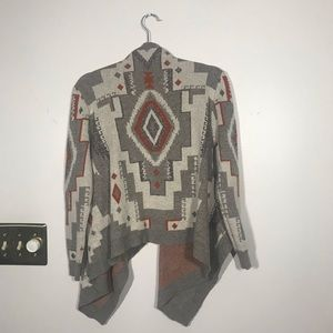 THE RAGE Aztec Open Cardigan Sweater, size Small